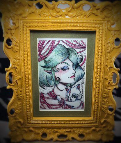 "Sassy Katz 4x6"" Matted Print & Ooh La La Mustard Frame w/ kickstand. - image Sassy-Katz-framed-print-416x492 on https://www.picassopixie.com"