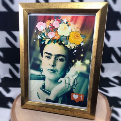 "Insta-Frida 5x7"" Digital Art Print & Gold Tone Frame - image insta-frida-framed-print-416x416 on https://www.picassopixie.com"
