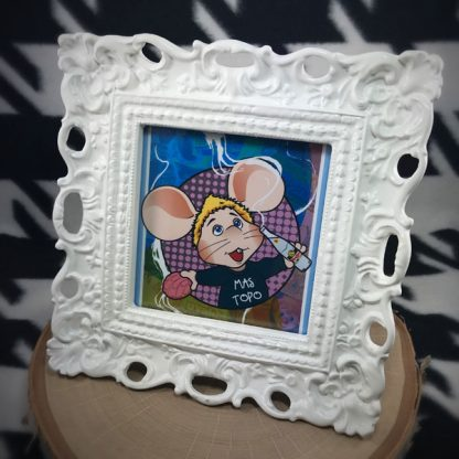 "Mas Topo 3.5x3.5"" Digital Illustration & Ooh La La White Frame w/kickstand - image topo-gigio-framed-print-416x416 on https://www.picassopixie.com"