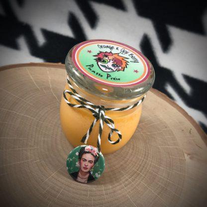 """Orange & Goji Berry 2 oz Soy Candle with Frida Kahlo 1"""" button pin - image orange-goji-berry-candle-gift-416x416 on https://www.picassopixie.com"""