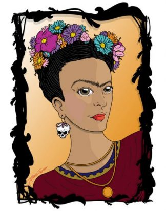 Tres Amigz de Frida Art Print - image Frida_Orange_web-324x412 on https://www.picassopixie.com