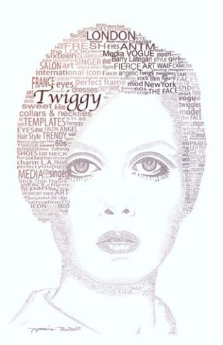 And Her Walkman Started to Melt Digital Art Print - image Twiggy_web-324x500 on https://www.picassopixie.com